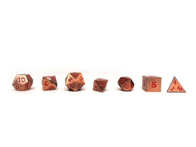 copper dice with red font