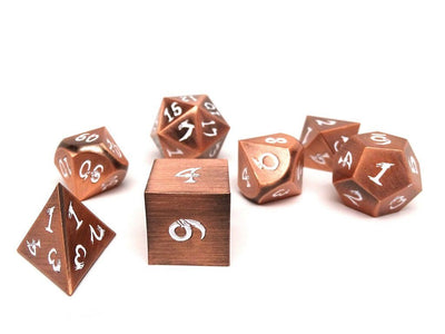 Metal Dice of Ancient Dragons - Ancient Copper with White Dragon Font
