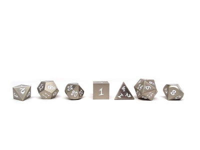 silver dice with black numbers