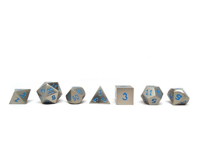 antique silver dice with blue numbers