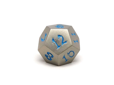 Metal Dice of Ancient Dragons - Ancient Silver with Powder Blue Dragon Font