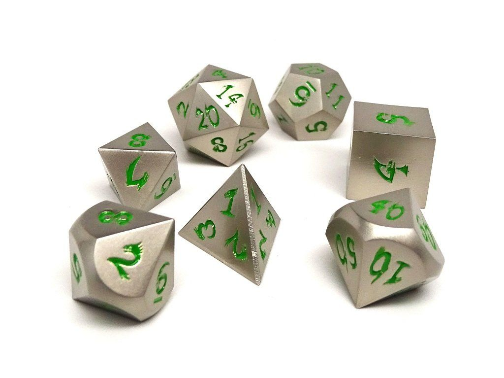 silver dice with green numbers