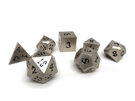 antique silver dice with black numbers