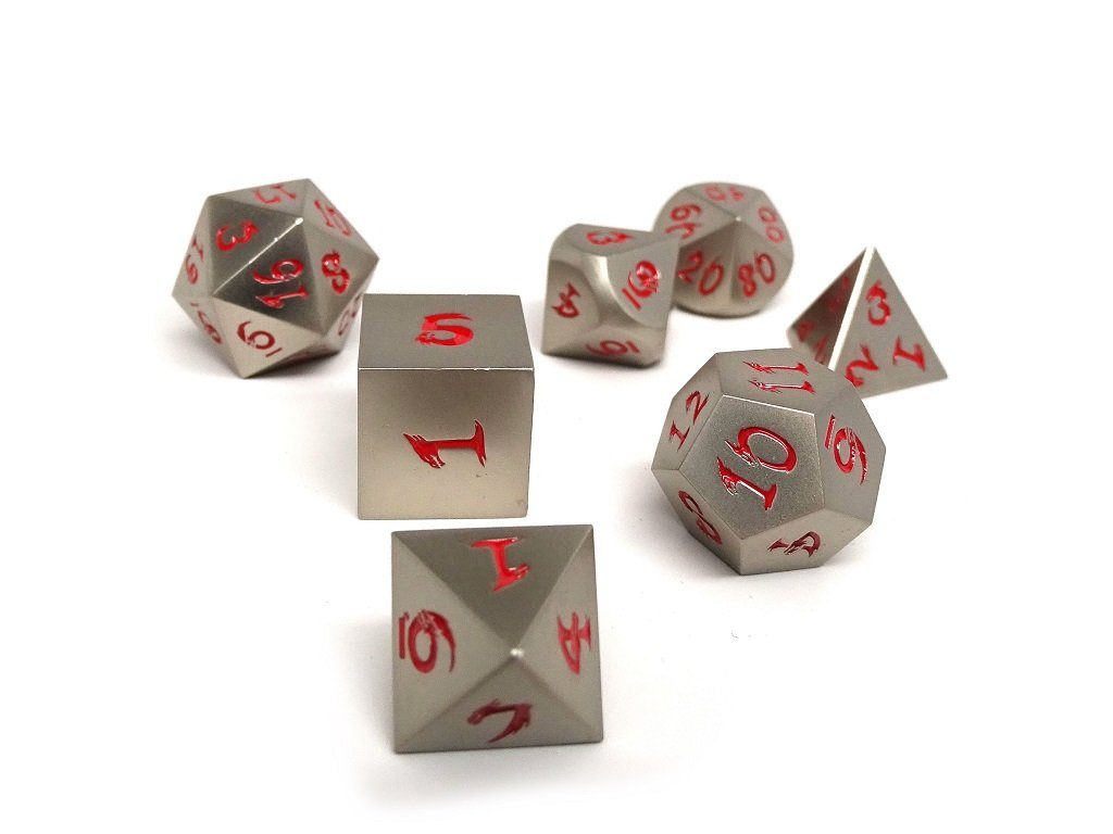 silver dice with red numbers