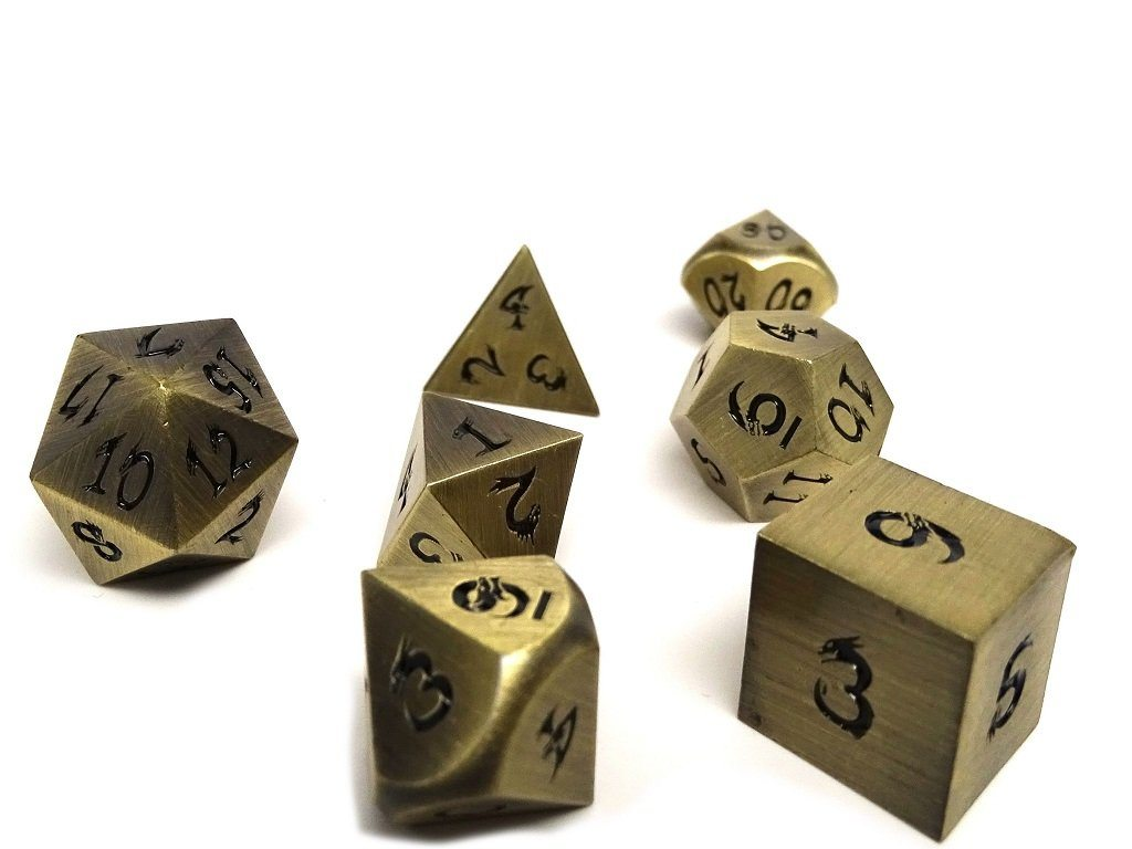 bronze dice with dragon numbers