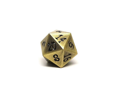 Metal Dice of Ancient Dragons - Ancient Bronze with Black Dragon Font