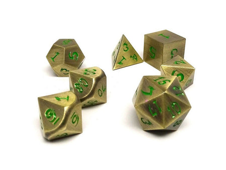 gold dice with green numbers