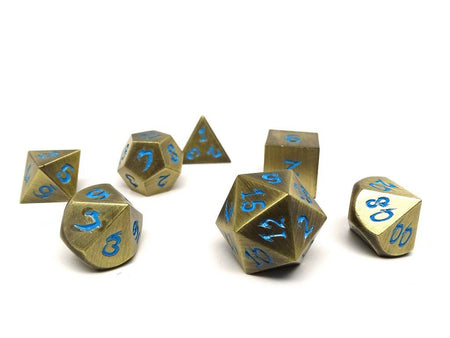 bronze dice with blue font