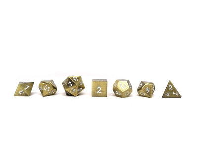 Metal Dice of Ancient Dragons - Ancient Bronze with White Dragon Font