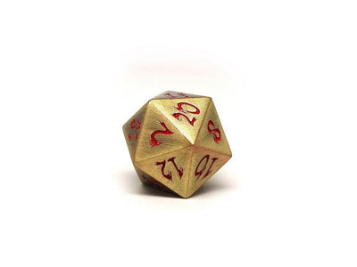 Metal Dice of Ancient Dragons - Ancient Bronze with Red Dragon Font