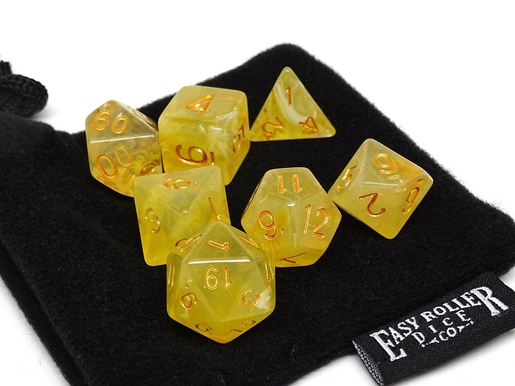 Frosted Yellow Glacier - 7 Piece Dice Collection