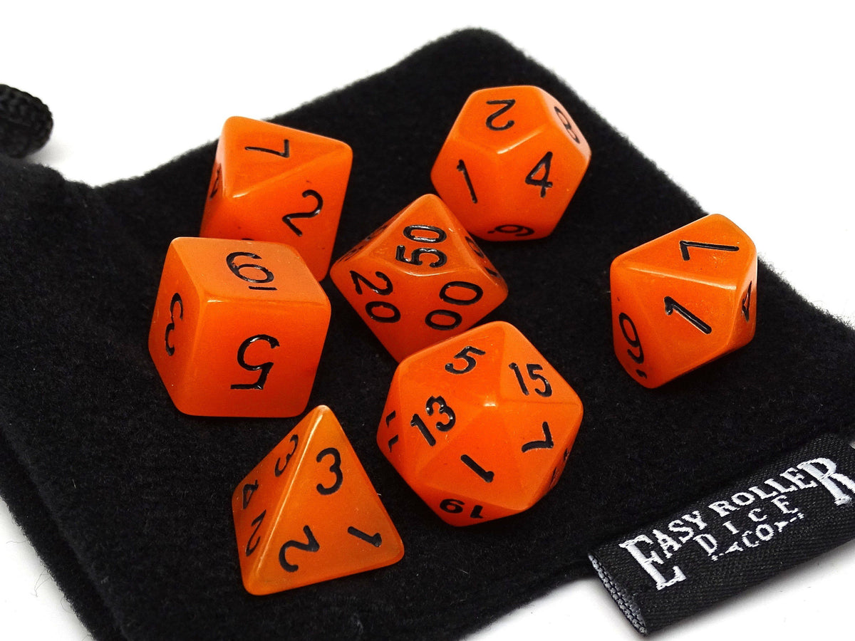 Orange Glow in the Dark - 7 Piece Dice Collection