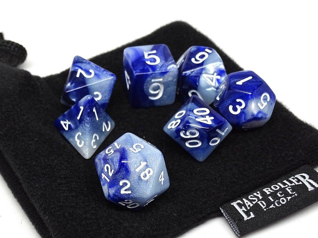 Frosted Blue Granite - 7 Piece Dice Collection