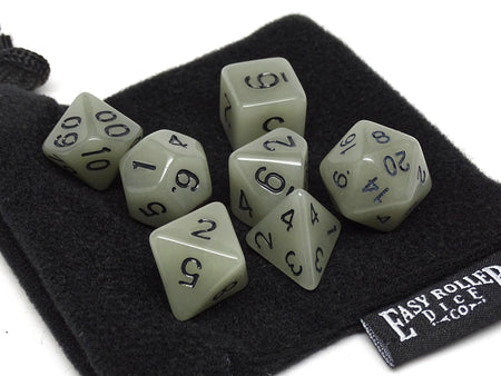 Grey Glow in the Dark - 7 Piece Dice Collection