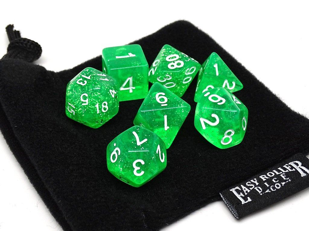 Translucent Green Galaxy - 7 Piece Dice Collection