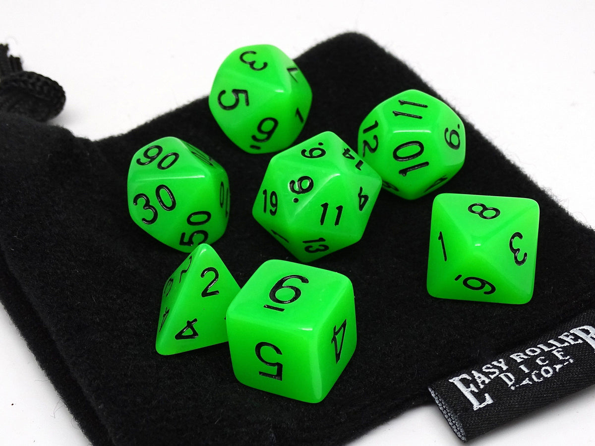 Green Glow in the Dark - 7 Piece Dice Collection