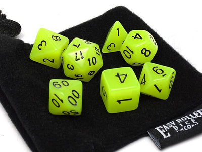 Yellow Glow in the Dark - 7 Piece Dice Collection