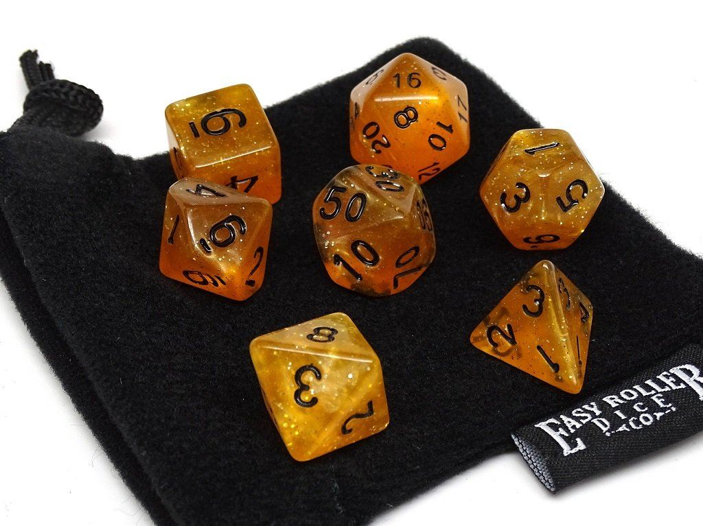 Translucent Amber Galaxy - 7 Piece Dice Collection