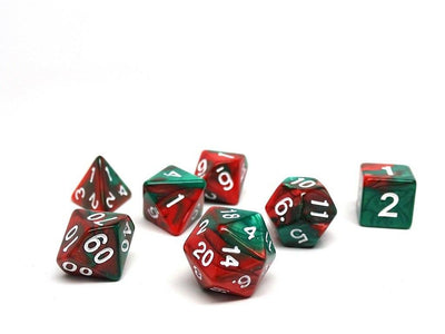 Green and Red Swirl - 7 Piece Dice Collection