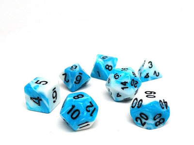 Cyan and White Swirl - 7 Piece Dice Collection