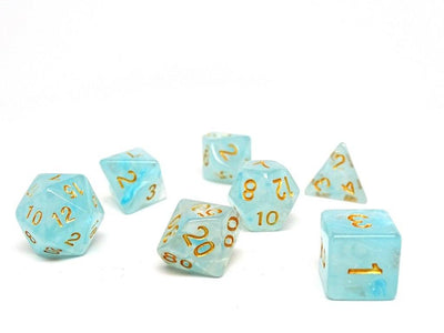 Frosted Ice Blue Glacier - 7 Piece Dice Collection
