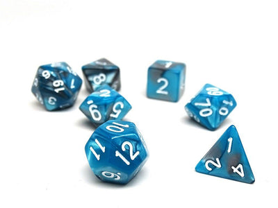 Teal and Grey Granite - 7 Piece Dice Collection