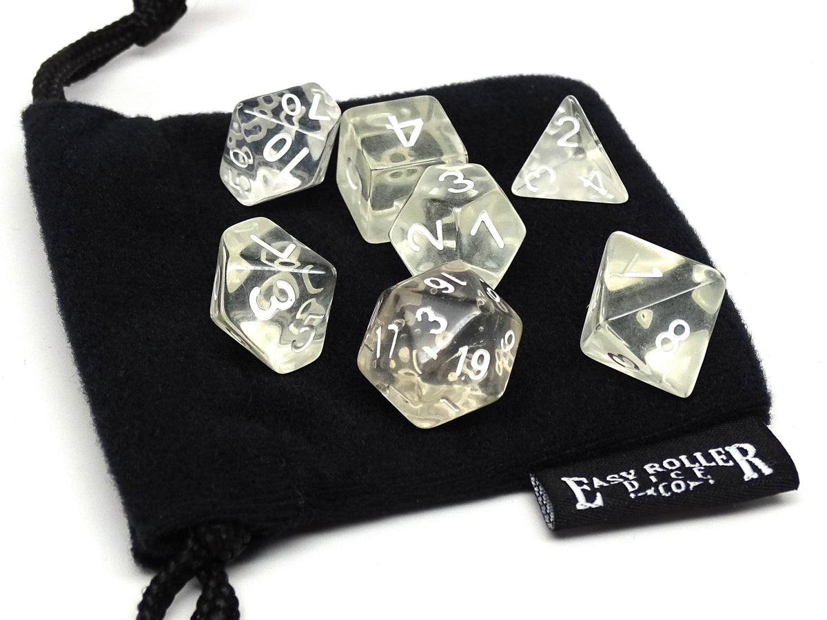 Clear Translucent Dice - 7 Piece Set With Bag