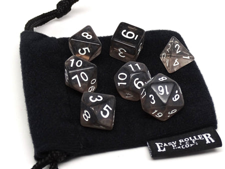 Dark Translucent Dice - 7 Piece Set With Bag
