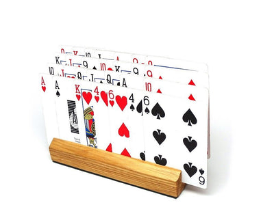 CLEARANCE SPECIAL - 2 Pack of Wooden Playing Card Holders - Holds up to 28 Cards