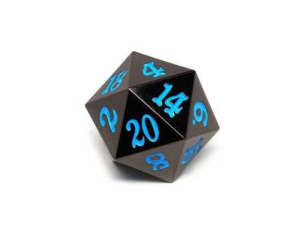 35mm Over Sized Gunmetal Powder Blue D20 Dice - Single Die