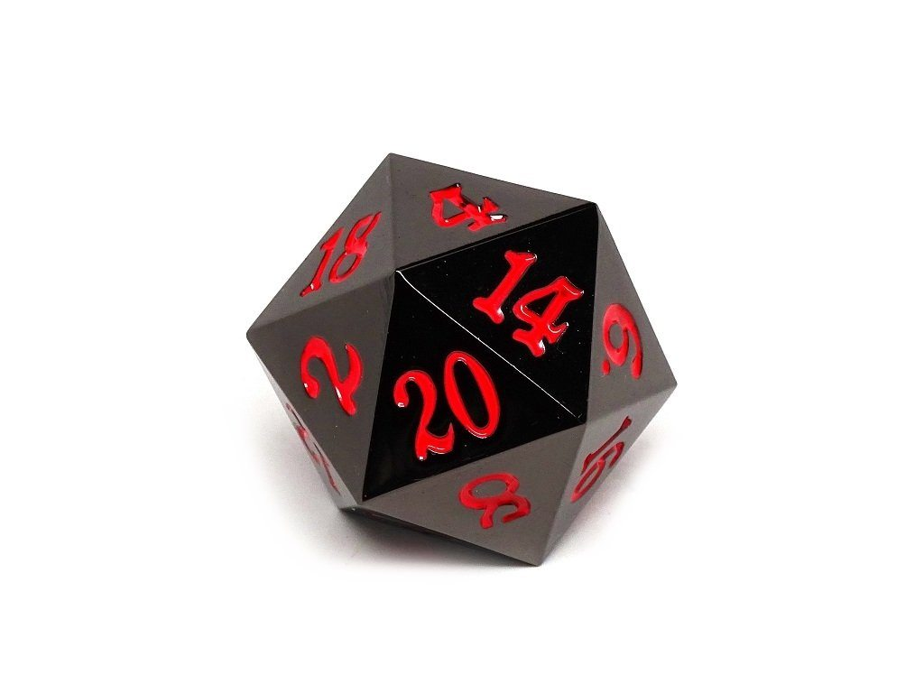 35mm Over Sized Gunmetal Red D20 Dice - Single Die