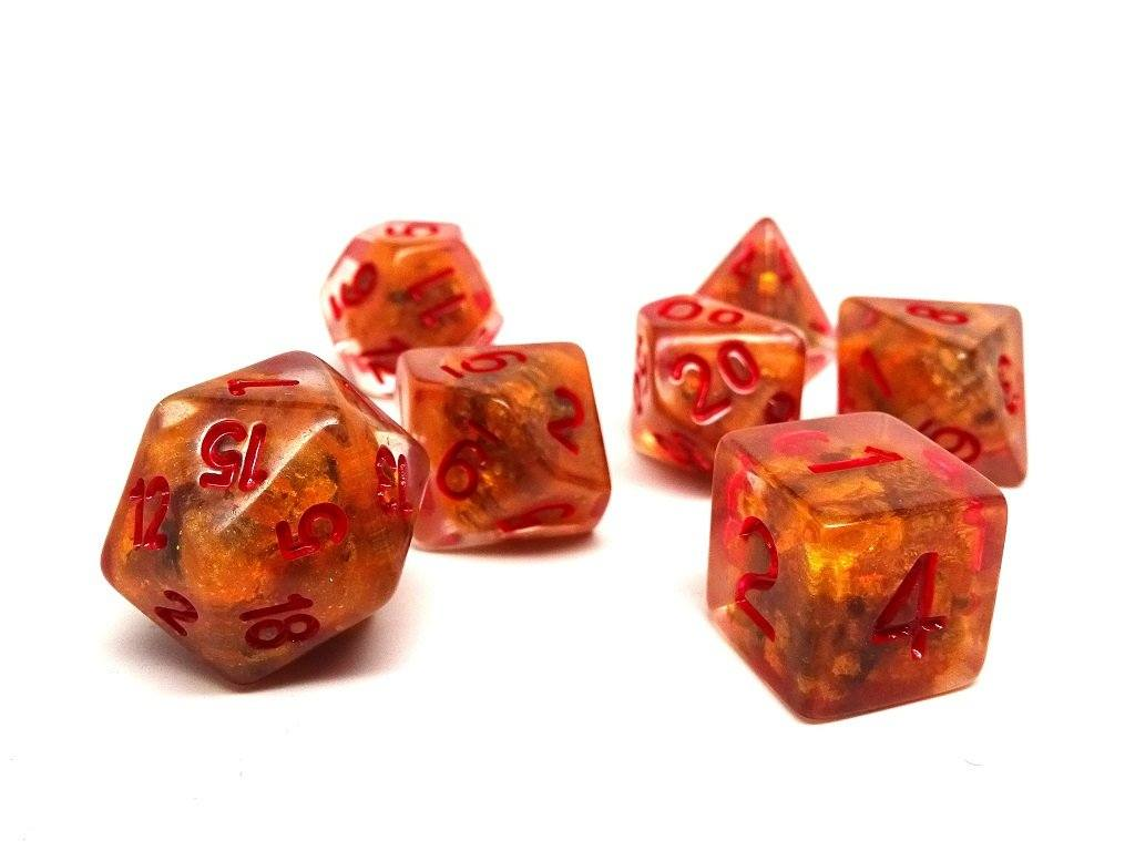 Red Ocean Reef Dice Set - 7 Piece Collection