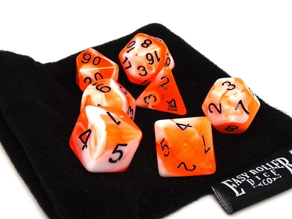 Tangerine Swirl Dice Collection - 7 Piece Set