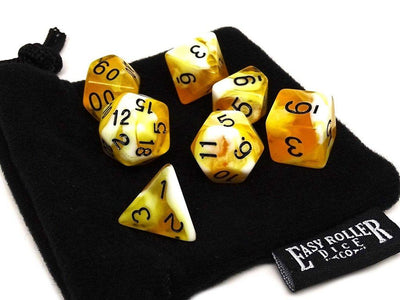 Butterscotch Swirl Dice Collection - 7 Piece Set