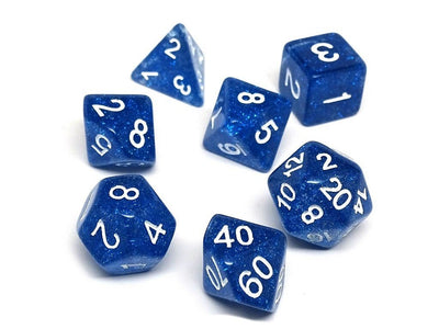 Royal Blue Galaxy Dice Collection - 7 Piece Set