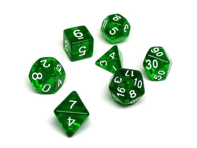 Emerald Green Translucent Dice - 7 Piece Set With Bag