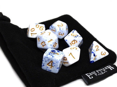 Blue and White Speckle Dice Collection - 7 Piece Set