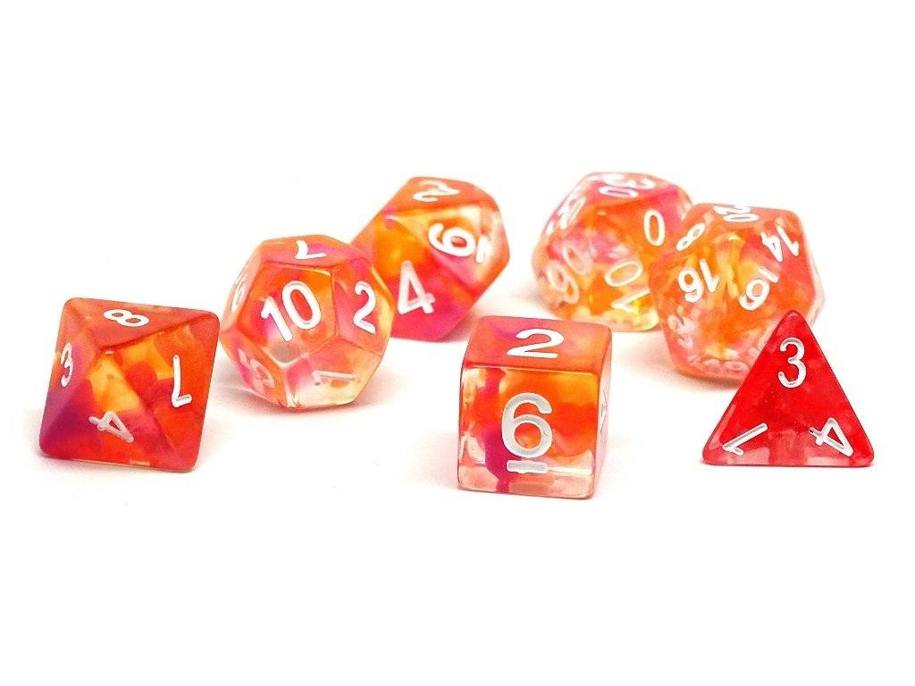 2 Tone Glacier - Pink and Orange Dice Collection - 7 Piece Set