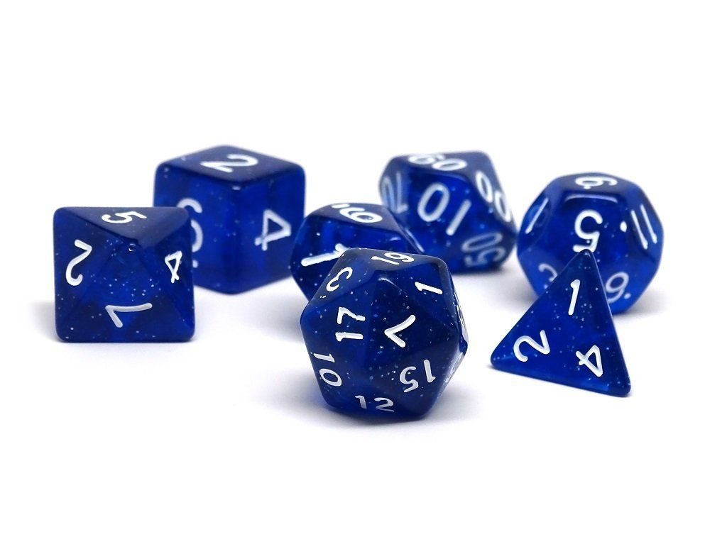 Midnight Blue Galaxy Dice Collection - 7 Piece Set
