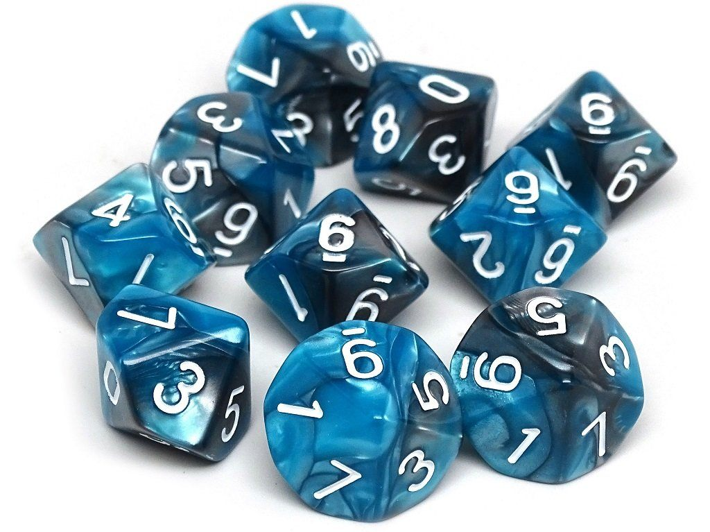 D10 Pack - Ten Count Pack of Teal and Grey Granite 10 Sided Dice