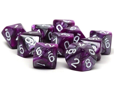 D10 Pack - Ten Count Pack of Purple and Grey Granite 10 Sided Dice