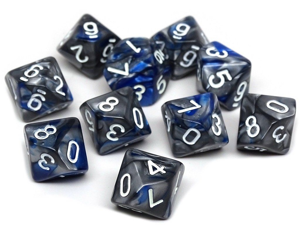 D10 Pack - Ten Count Pack of Blue and Silver Granite 10 Sided Dice