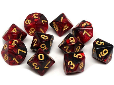 D10 Pack - Ten Count Pack of Lava Swirl 10 Sided Dice