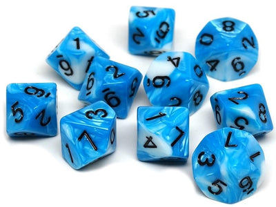 D10 Pack - Ten Count Pack of Cyan and White Swirl 10 Sided Dice