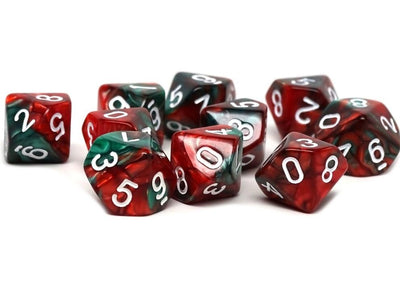 D10 Pack - Ten Count Pack of Green and Red Swirl 10 Sided Dice