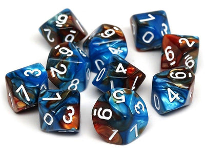 D10 Pack - Ten Count Pack of Cobalt and Copper Granite 10 Sided Dice