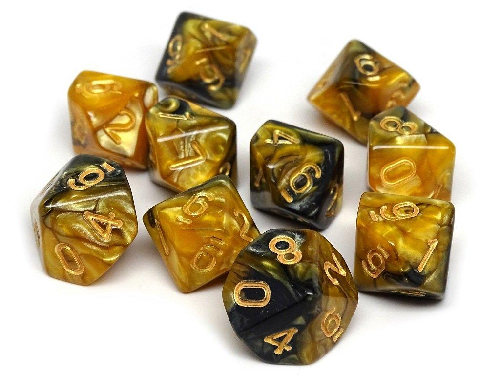 D10 Pack - Ten Count Pack of Yellow and Black Granite 10 Sided Dice