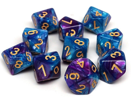 D10 Pack - Ten Count Pack of Turquoise and Magenta Swirl 10 Sided Dice