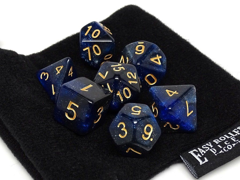 Midnight Blue Stardust Dice Collection - 7 Piece Set