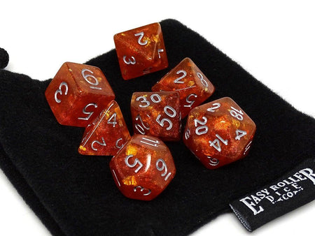 Orange Ocean Reef Dice Collection - 7 Piece Set